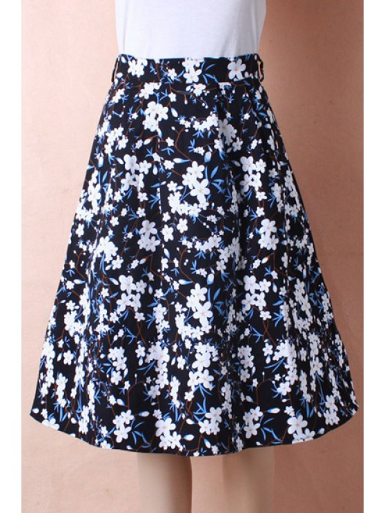 hot White Floral Print Flare Skirt - BLUE ONE SIZE(FIT SIZE XS TO M)