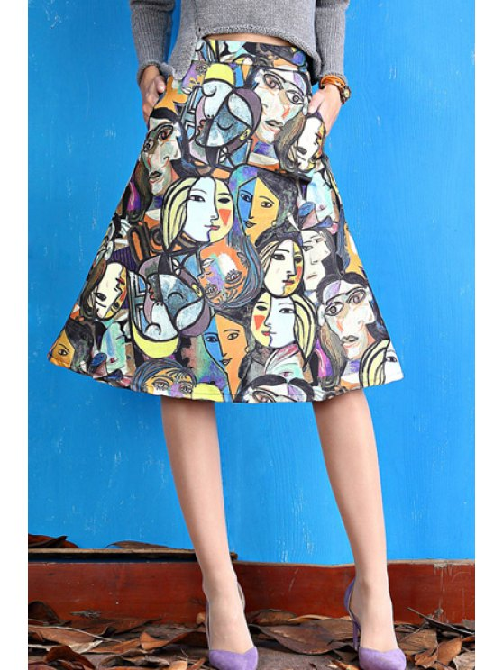 chic Full Face Print Flare Skirt - COLORMIX S