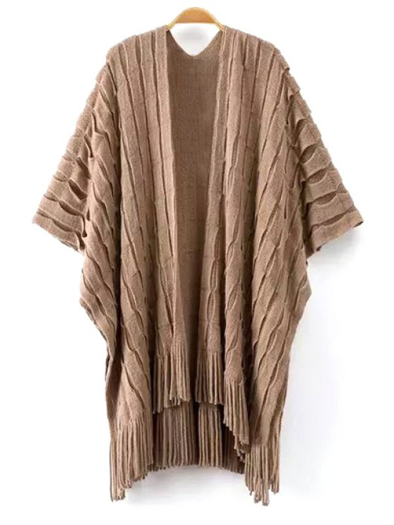 unique Tassels Half Sleeve Cardigan - KHAKI ONE SIZE(FIT SIZE XS TO M)