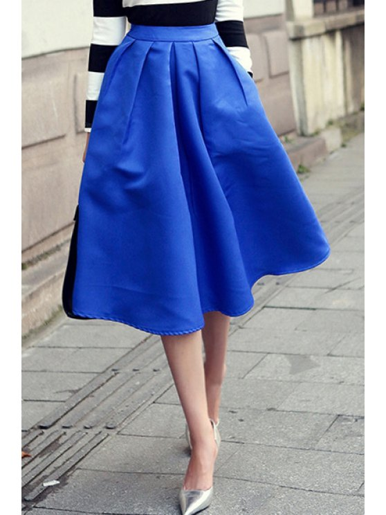 shops Solid Color Pockets Design Skirt - BLUE M