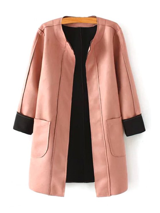 online Pink Stand Neck Long Sleeve Coat - PINK S