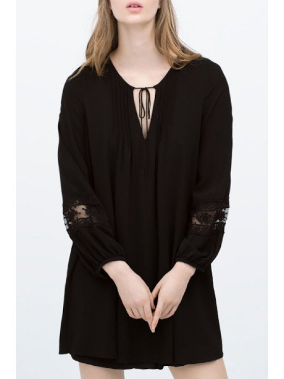 fancy Solid Color V-Neck Lace-Up Long Sleeves Chiffon Dress - BLACK S