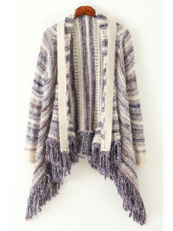 women Striped Tassels Long Sleeve Cardigan - COLORMIX ONE SIZE(FIT SIZE XS TO M)