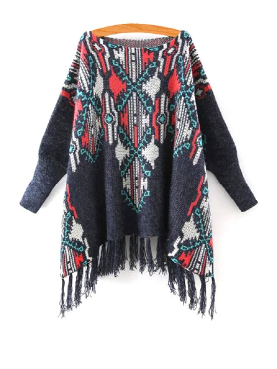 new Tassels Boat Neck Long Sleeve Jumper - COLORMIX ONE SIZE(FIT SIZE XS TO M)