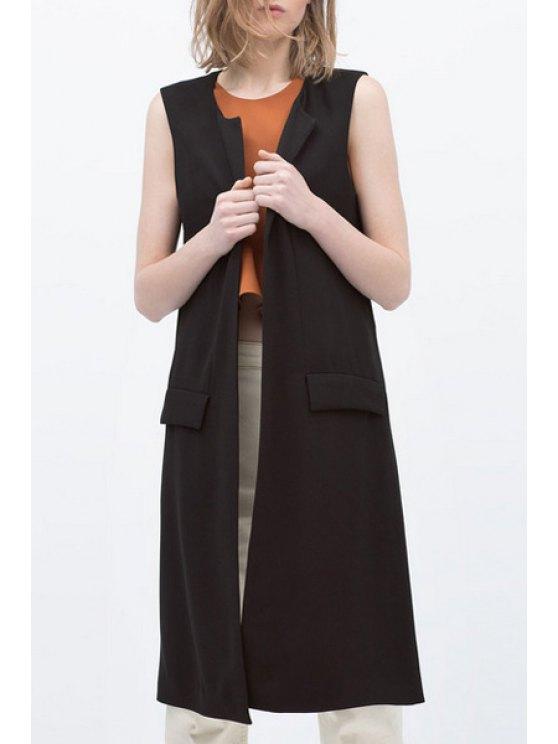ladies Black Round Collar All Match Waistcoat - BLACK S