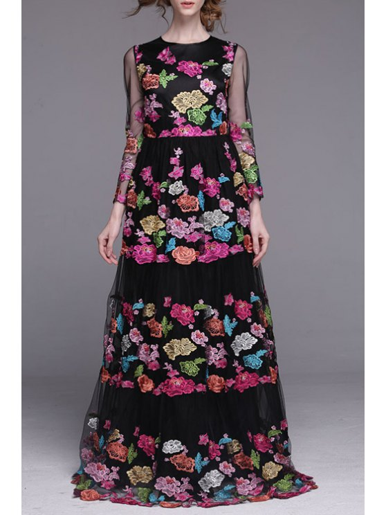 women's Floral Embroidered Voile Dress - BLACK S