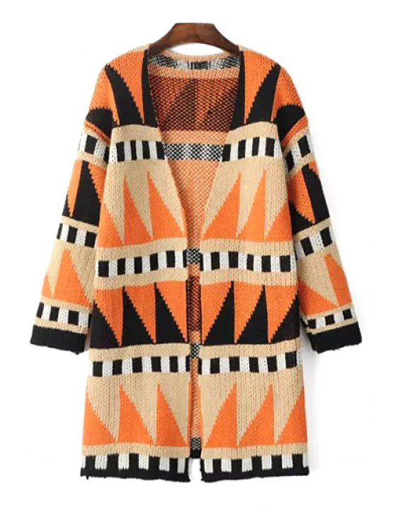 women's Geometric Pattern Plunging Neck Cardigan - COLORMIX ONE SIZE(FIT SIZE XS TO M)