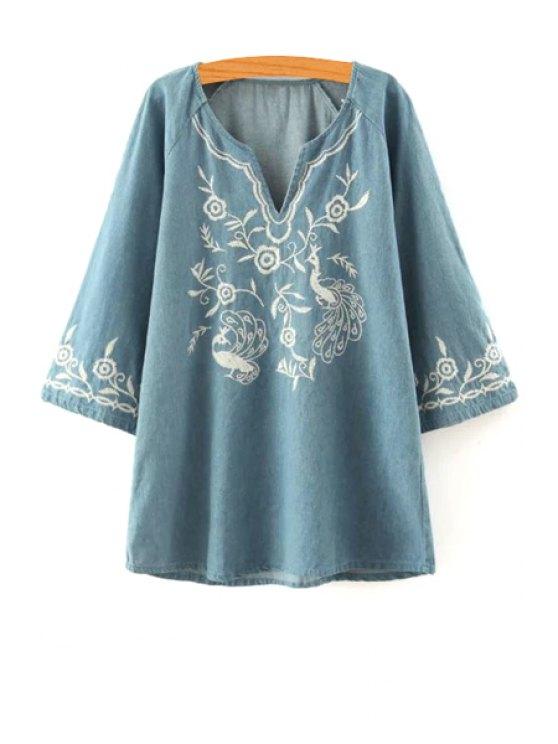unique Floral Embroidery V Neck Long Sleeve Dress - LIGHT BLUE S