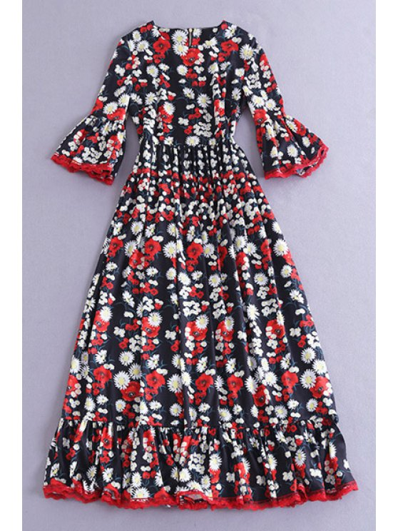 best Bell Sleeve Daisy Print Maxi Dress - COLORMIX S