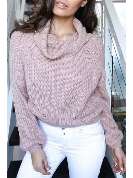 trendy Turtle Neck Long Sleeves Solid Color Pullover Sweater - LIGHT BROWN ONE SIZE(FIT SIZE XS TO M)