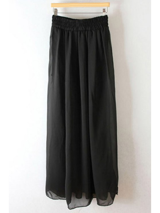 lady Pleated High Waisted Chiffon Long Skirt - BLACK ONE SIZE(FIT SIZE XS TO M)