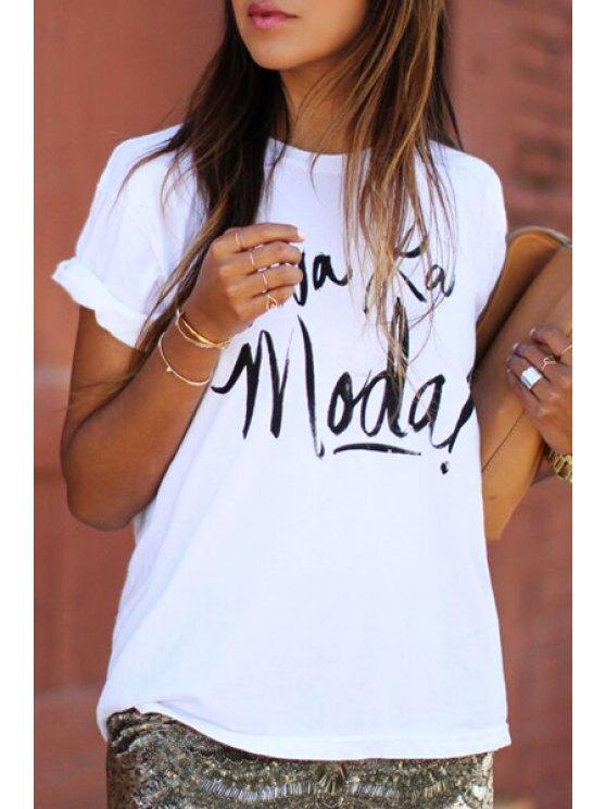sale Black Letter Print Short Sleeves T-Shirt - WHITE S