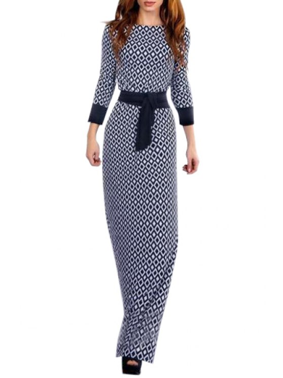 affordable Argyle Print Nine-Minute Sleeve Maxi Dress - BLUE AND WHITE XL