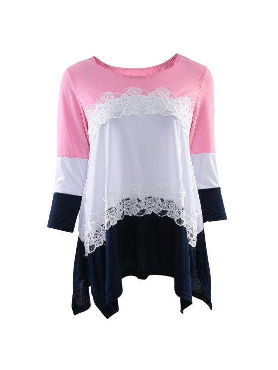 new 3/4 Sleeve Color Block Loose T-Shirt - PINK S