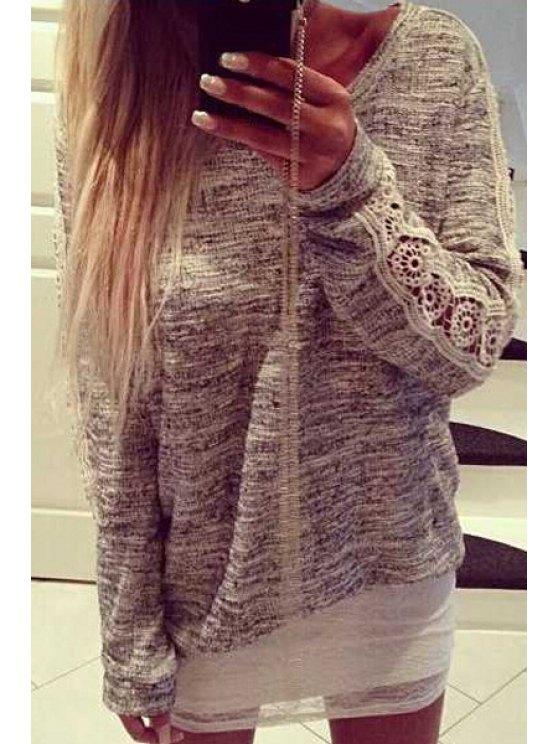 online Lace Spliced Scoop Collar Long Sleeve Knitwear - GRAY S