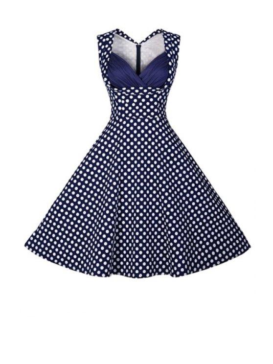 women Polka Dot Ball Gown Vintage Dress - PURPLISH BLUE M