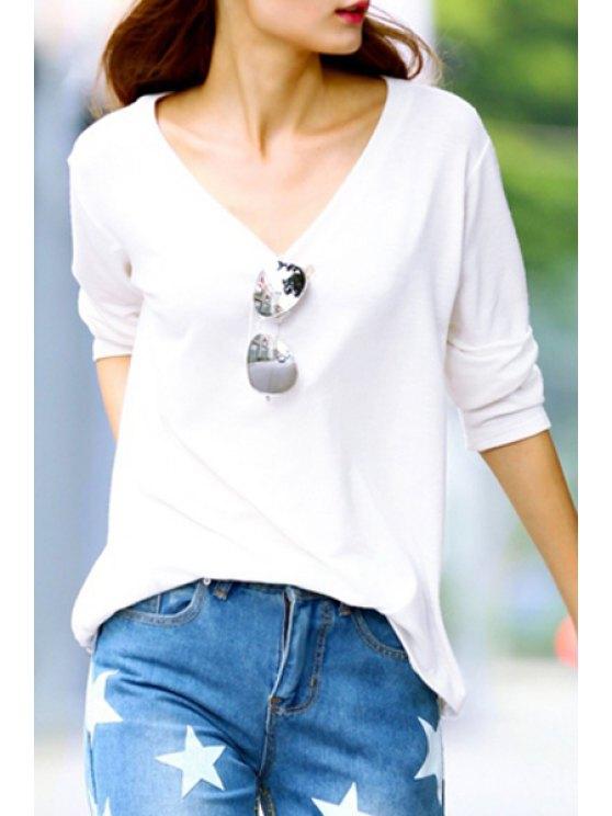 ladies White V Neck Long Sleeve T-Shirt - WHITE XL