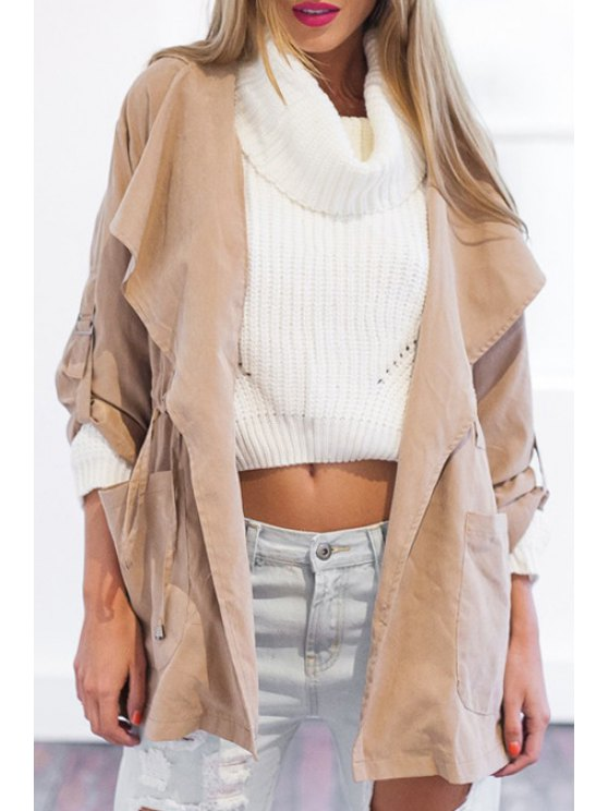 new Pure Color Hooded Long Sleeves Trench Coat - PINK S