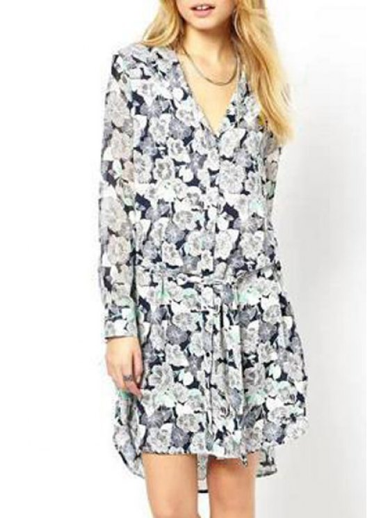 trendy Floral Print Flat Collar Long Sleeves Chiffon Dress - COLORMIX S