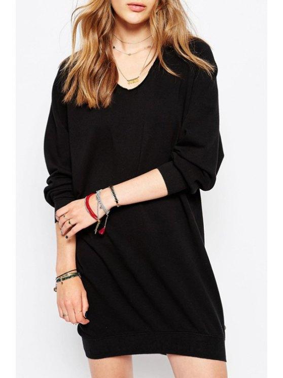 lady Black Scoop Neck Long Sleeves Dress - BLACK S