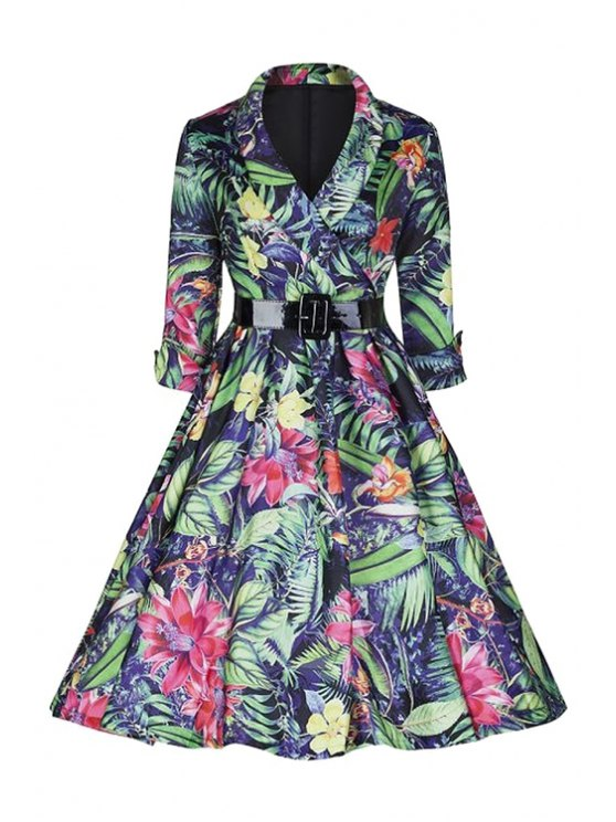 buy Large Floral Print Ball Gown Dress - COLORMIX S