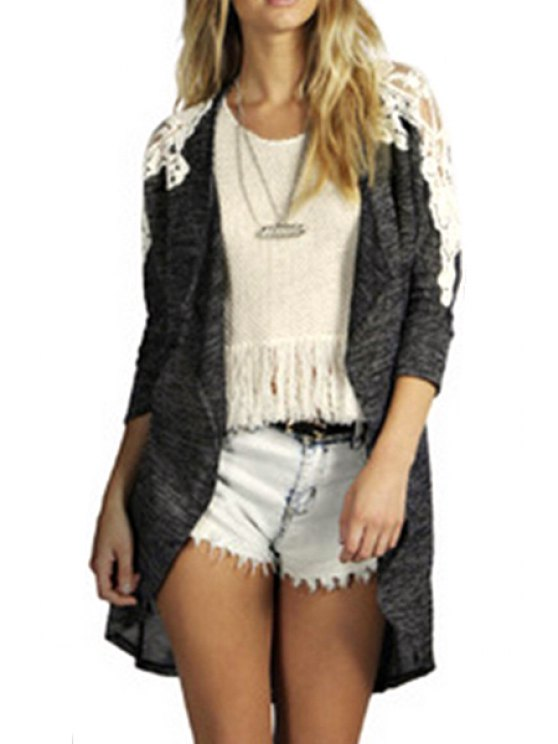 unique Collarless Lace Patchwork Trench Coat - GRAY S