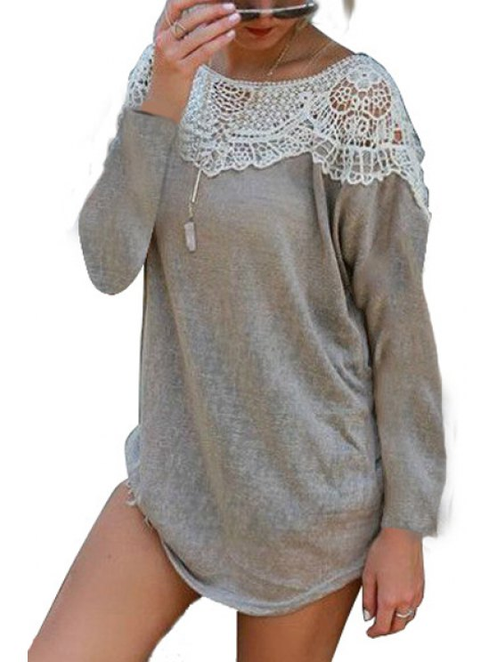 womens Lace Patchwork Grey T-Shirt - GRAY S