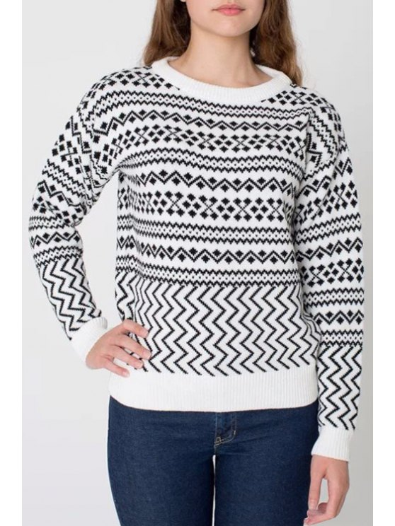 womens Jacquard Round Collar Long Sleeves Pullover Sweater - WHITE S
