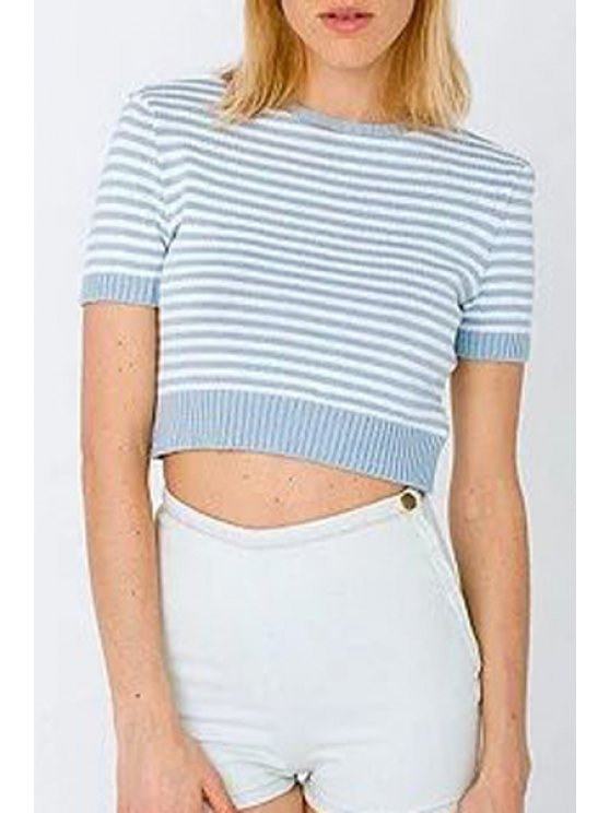 trendy Crop Top Solid Color Short Sleeves Pulloverover Sweater - LIGHT BLUE M