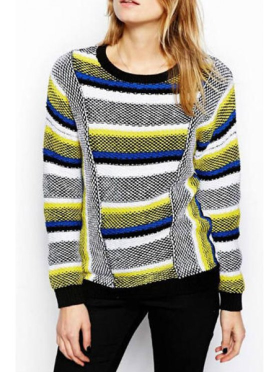 fancy Striped Print Round Collar Long Sleeves Pullover Sweater - COLORMIX S