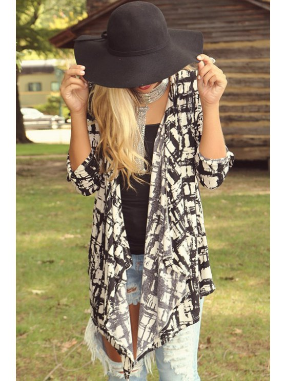 shops Checked Print Long Sleeve Coat - WHITE AND BLACK S