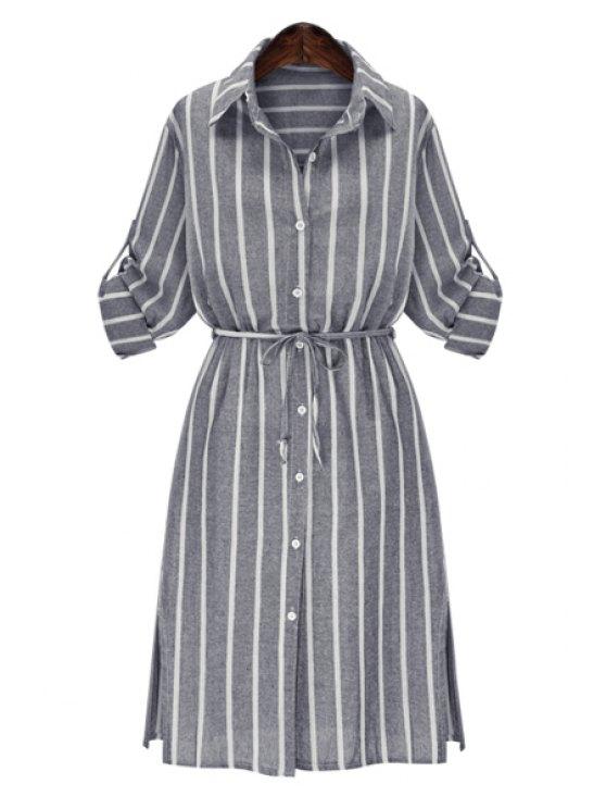 latest Stripe Shirt Neck Long Sleeve Maxi Shirt - GRAY XL