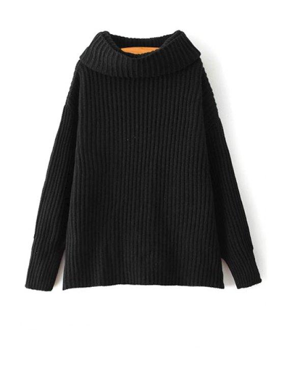 Suéter de encaje suelto de la correa de la tortuga suéter del color sólido - Negro Un tamaño(Montar tam