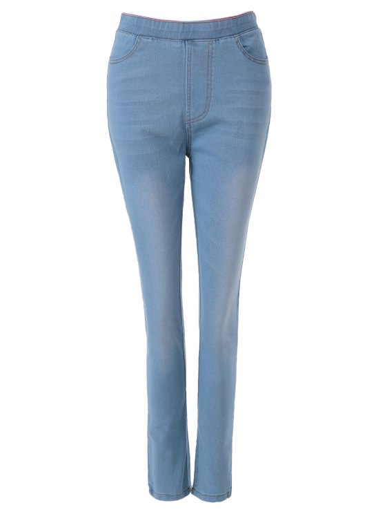 outfit Bleach Wash Elastic Waist Jeans - LIGHT BLUE M