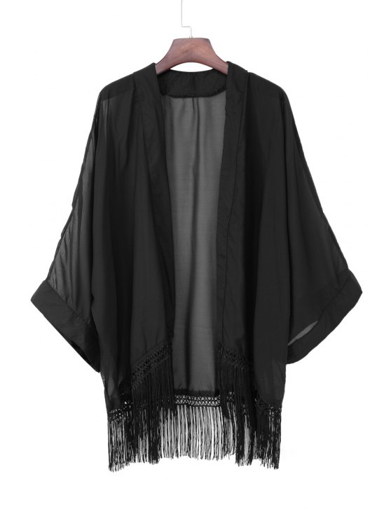 women Black Chiffon Long Sleeve Kimono - BLACK S