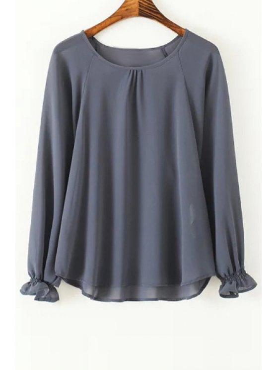 chic Loose Fitting Raglan Sleeves Round Collar Blouse - GRAY S
