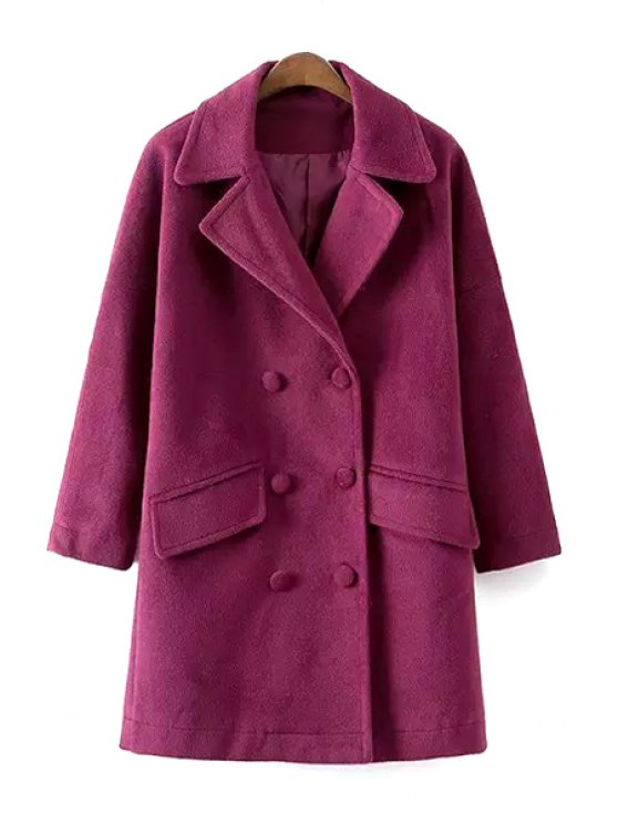 fancy Double-Breasted Lapel Collar Solid Color Coat - PURPLE S