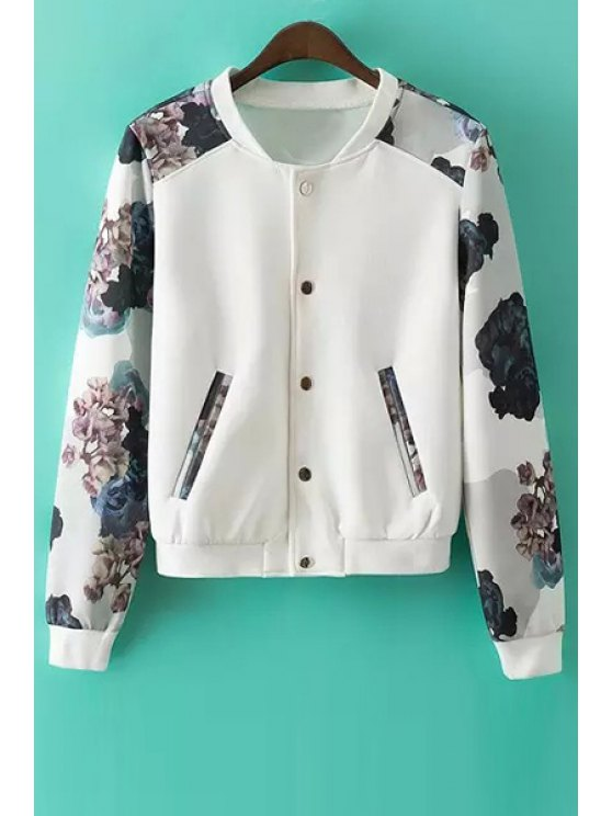 womens Printed Round Collar Long Sleeves Baseball Jacket - WHITE S