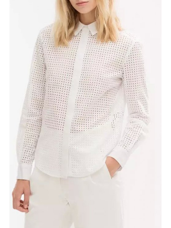 sale Hollow Out Turn Down Collar Long Sleeve Shirt - WHITE S