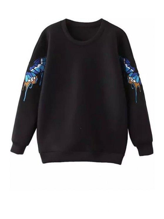 latest Long Sleeve Butterfly Pattern Sweatshirt - BLACK M