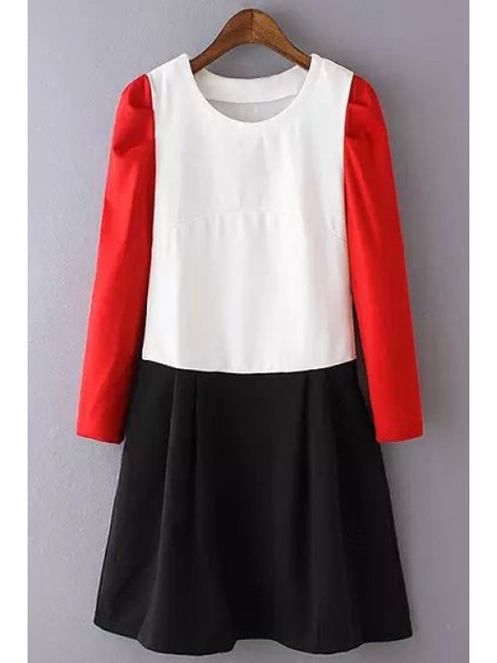 women Color Block Jewel Neck Long Sleeve Dress - BLACK AND WHITE AND RED S