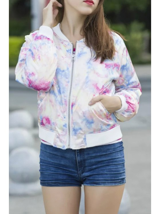outfits Floral Print Stand Collar Long Slevees Thicken Jacket - WHITE S