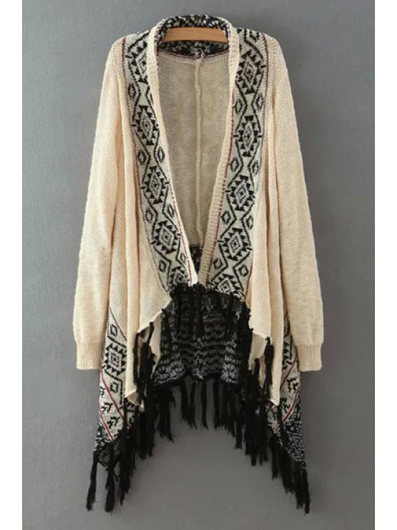 outfits Tassels Irregular Long Sleeve Cardigan - BEIGE M