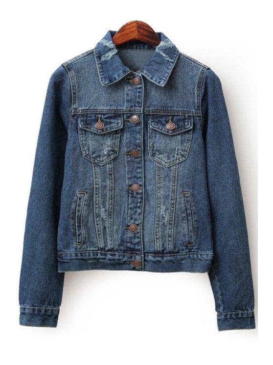 fashion Ripped Denim Turn-Down Collar Long Sleeves Jacket - DEEP BLUE S