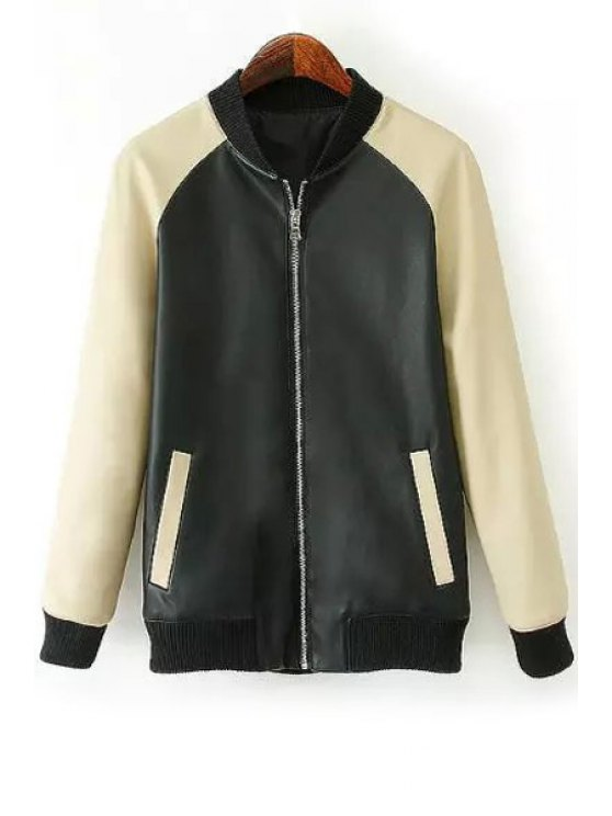 women Color Block Stand Neck PU Leather Jacket - BLACK S
