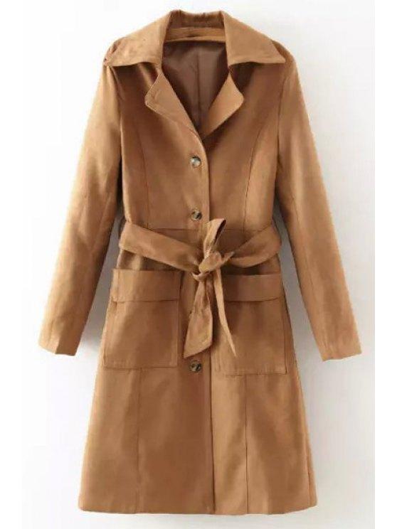 shops Pure Color Lapel Long Sleeve Coat - KHAKI S