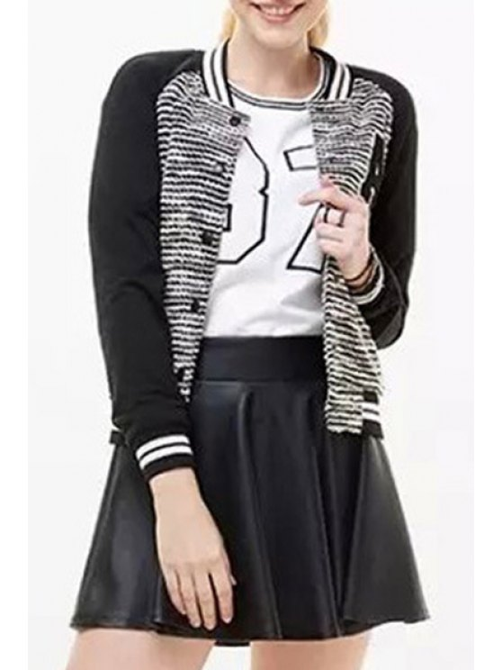 best Letter Applique Round CollarBaseball Jacket - BLACK AND GREY S