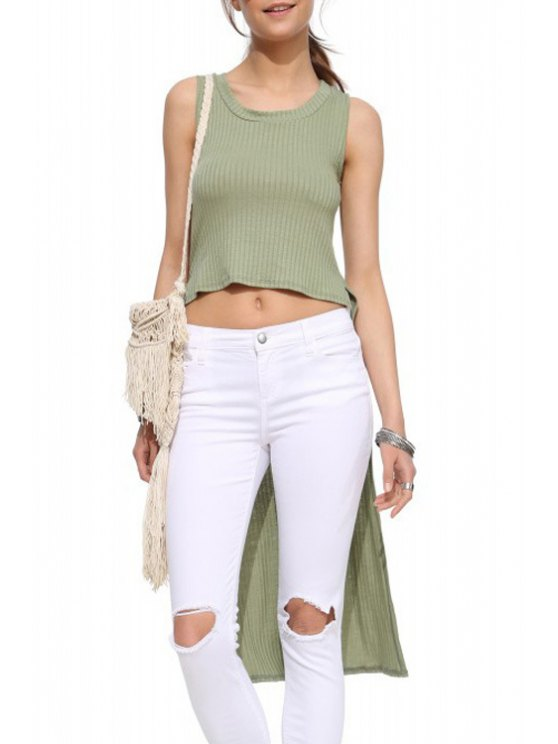 best Pure Color High Low Tank Top - ARMY GREEN XS