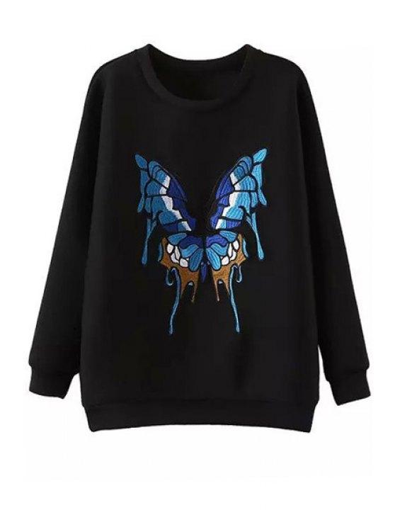 unique Butterfly Pattern Jewel Neck Long Sleeve Sweatshirt - BLACK S