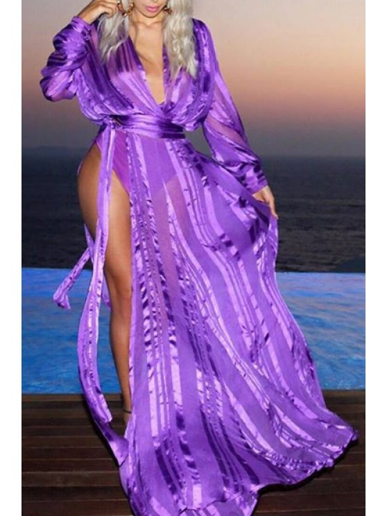 unique Plunging Neck High Slit Self-Tie Dress - PURPLE S